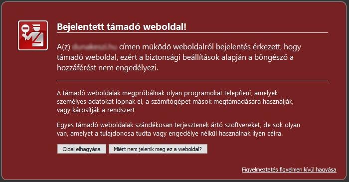 Bejelentett támadó webhely